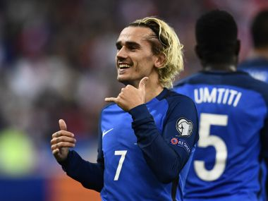 Antoine Griezmann fired France to the World Cup finals with a goal in 2-1 win over Belarus. AFP