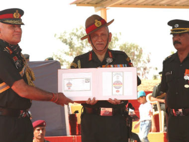 Army chief Bipin Rawat at the standard presentation ceremony in Jammu. Twitter @adgpi
