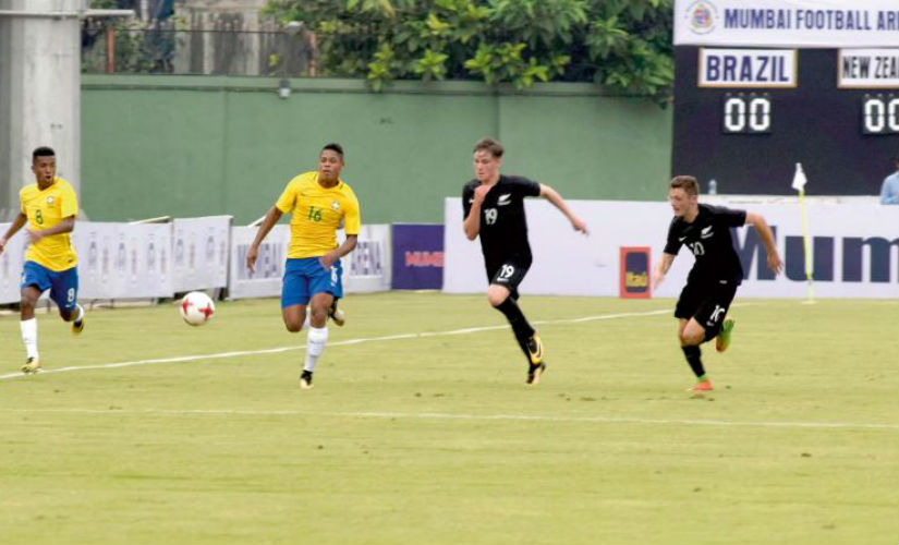 New Zealand played Brazil in a warm-up match at the Mumbai Football Arena on Thursday. New Zealand Football