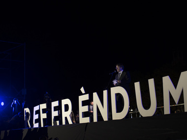 File image of Catalonia's regional president Carles Puigdemont giving a closing speech during the 'Yes' vote closing campaign in Barcelona. AP