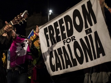 Independence supporters gathered in Barcelona's main square, Spain. AP