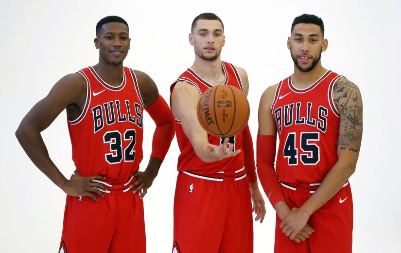 Going by their offseason, the Chicago Bulls seem to be in a self-destruct mode. Kris Dunn, left, Zach LaVine, center, and Denzel Valentine pictured posing for a portrait during media day. AP