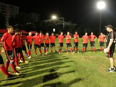 Chile U-17 football players during the practice session. Image courtesy: Twitter @LaRoja