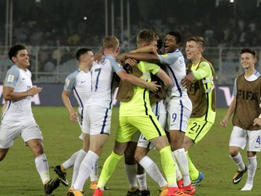 England's footballers celebrate their victory over Japan in their FIFA U-17 World Cup match in Kolkata, India, Tuesday, Oct. 17, 2017. (AP Photo/Bikas Das)