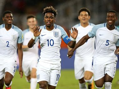 Angel Gomes of England celebrates his goal during the FIFA U-17 World Cup India 2017 group F match between Chile and England. Getty Images
