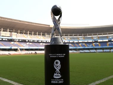 The trophy is pictured ahead of the FIFA U-17 World Cup 2017 final match between England and Spain. Getty
