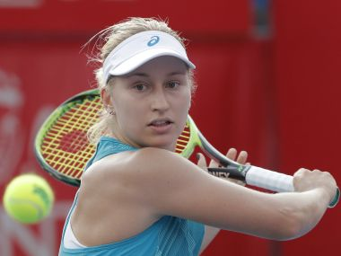 Daria Gavrilova of Australia returns a shot to Lizette Cabrera of Australia during the quarter-final match at the Hong Kong Open tennis tournament in Hong Kong, Friday, Oct. 13, 2017. (AP Photo/Kin Cheung)