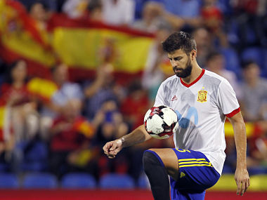Spain's Gerard Pique during the team warm up before the match with Albania. AP
