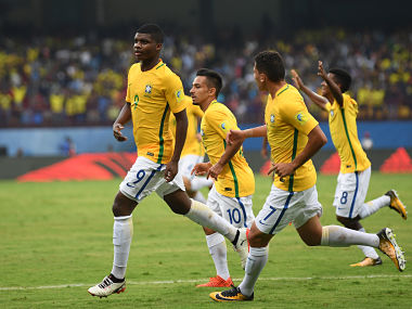 KOCHI, INDIA - OCTOBER 07: Lincoln of Brazil celebrates with team mates after equalising during the FIFA U-17 World Cup India 2017 group D match between Brazil and Spain at the Jawaharlal Nehru International Stadium on October 7, 2017 in Kochi, India. (Photo by Mike Hewitt - FIFA/FIFA via Getty Images)