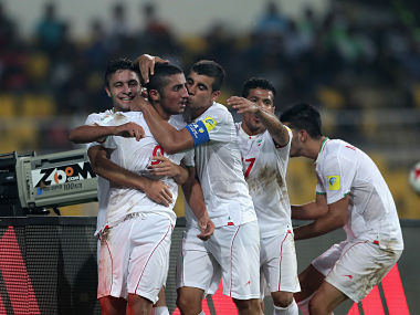 GOA, INDIA - OCTOBER 07: Allahyar Sayyad of Iran celebrates with team mates after scoring his team's first goal during the FIFA U-17 World Cup India 2017 group C match between Iran and Guinea at Pandit Jawaharlal Nehru Stadium on October 7, 2017 in Goa, India. (Photo by Boris Streubel - FIFA/FIFA via Getty Images)