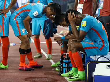 NEW DELHI, INDIA - OCTOBER 12: Players of India react after the FIFA U-17 World Cup India 2017 group A match between Ghana and India at Jawaharlal Nehru Stadium on October 12, 2017 in New Delhi, India. (Photo by Maja Hitij - FIFA/FIFA via Getty Images)