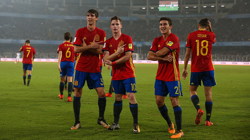 Spain disciplined play had earned them a 2-0 lead in the first half thanks to a brace from Sergio Gomez (C). GettyImages