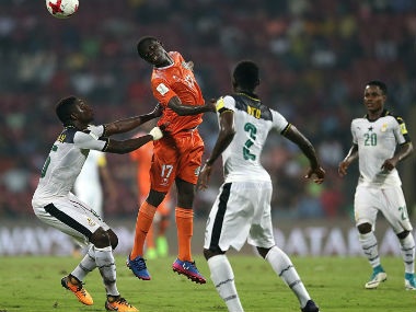Ibrahim Boubacar of Niger comptes for the arial ball with John Otu of Ghana. Getty Images