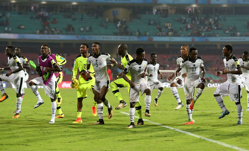 Ghana players perform a dance to celebrate the win over neighbours Niger. Getty Images