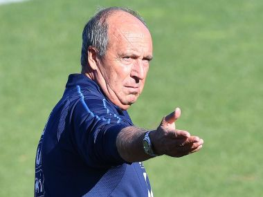 Italy coach Gian Piero Ventura leads a training session ahead of Monday's World Cup group G qualifying soccer match against Albania, at Turin's Filadelfia stadium, northern Italy, Sunday, Oct. 8, 2017.  (Alessandro Di Marco/ANSA via AP)