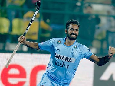 Gurjant Singh celebrates after equalising for India. Image Courtesy: Twitter @TheHockeyIndia