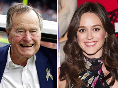 File image of former US president George HW Bush and actress Heather Lind. AP