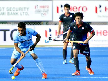 Harmanpreet Singh in action against Japan. Image Courtesy: Twitter @TheHockeyIndia