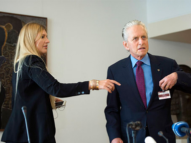 File image of ICAN executive director Beatrice Fihn (left) with Michael Douglas. AP