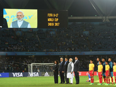 Indian PM Narendra Modi attends India's first match of the FIFA U-17 World Cup 2017 against USA. AFP