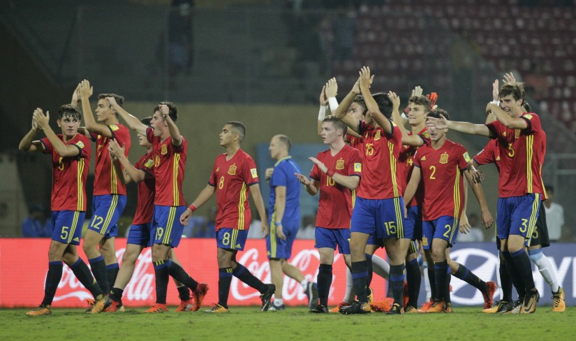 Spain players celebrate their victory over Mali during their FIFA U-17 World Cup semi-final. AP