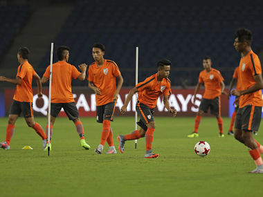 Indian players train ahead of their FIFA U-17 World Cup match against USA in New Delhi. AP