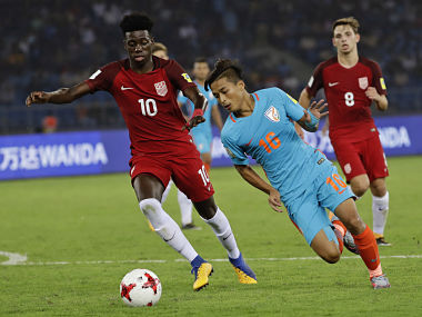 India's Abhijit Sarkar controls the ball during the FIFA U-17 World Cup match against the U.S. in New Delhi, India, Friday, Oct. 6, 2017. (AP Photo/Tsering Topgyal)