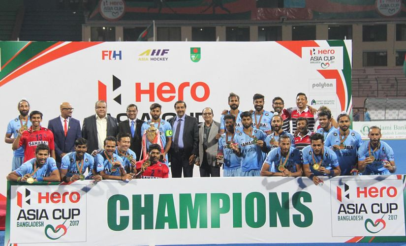 The Indian Hockey team defeated Malaysia 2-1 to clinch their third Asia Cup title. Image courtesy: Twitter @asia_hockey