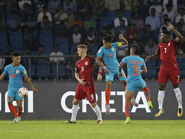 Indian team in action during their fixture against USA. AP