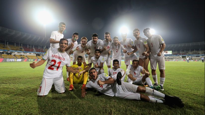Iran's team celebrate after winning the FIFA U-17 World Cup 2017 Round of 16 match against Mexico. Getty