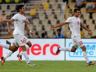 Mohammad Ghobeishavi of Iran celebrates with teammates against Costa Rica during the U-17 World Cup. FIFA