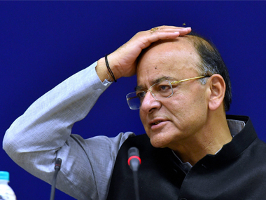 Arun Jaitley addressing the media after GST Council meet in New Delhi. PTI