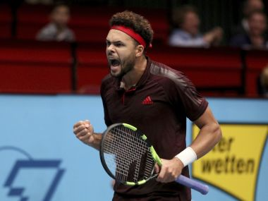 Jo Wilfried Tsonga celebrates during his semi-final match against Philipp Kohlschreiber. AP