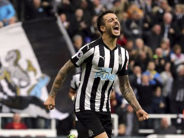 Newcastle United's Joselu celebrates scoring the equaliser against Liverpool. AP