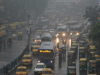 File image of heavy rains lashing Kolkata after downpour for over 24 hours throwing normal life out of gear. PTI