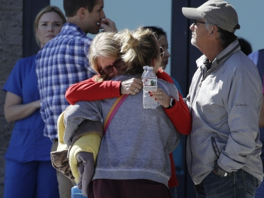 Family members of the victims of the Las Vegas shooting. AP
