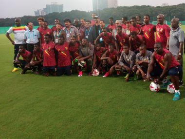 The Mali team after a training session.
