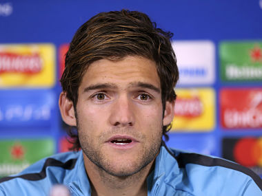 Chelsea's Marcos Alonso speaks during a press conference at Chelsea FC Training Ground. AP