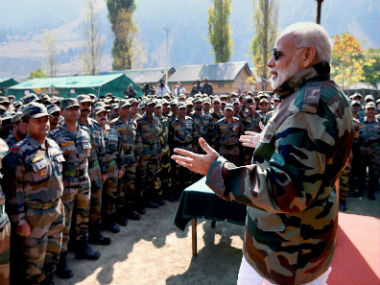 Prime Minister Narendra Modi celebrated Diwali with the armed forces in Jammu and Kashmir. PTI