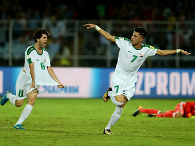 Mohammed Dawood of Iraq celebrates his goal during the FIFA U-17 World Cup India 2017 group F match between Iraq and Mexico. Getty