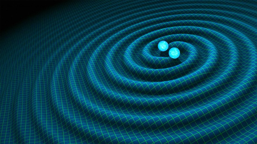 Artist's impression of gravitational waves generated by binary neutron stars. Image courtesy: NASA