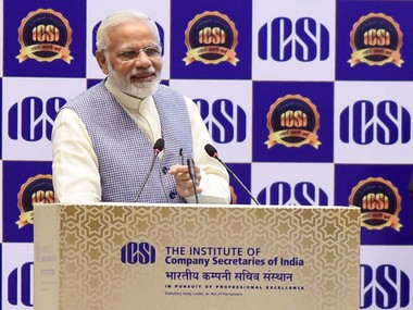 The Prime Minister, Shri Narendra Modi addressing at the Golden Jubilee Year Celebrations of the Institute of Company Secretaries of India (ICSI), in New Delhi on October 04, 2017. PIB.