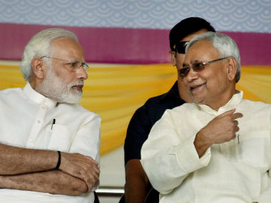 This is the first time Prime Minister Narendra Modi and Bihar chief minister Nitish Kumar shared the dais since JD(U) returned to the NDA fold. PTI