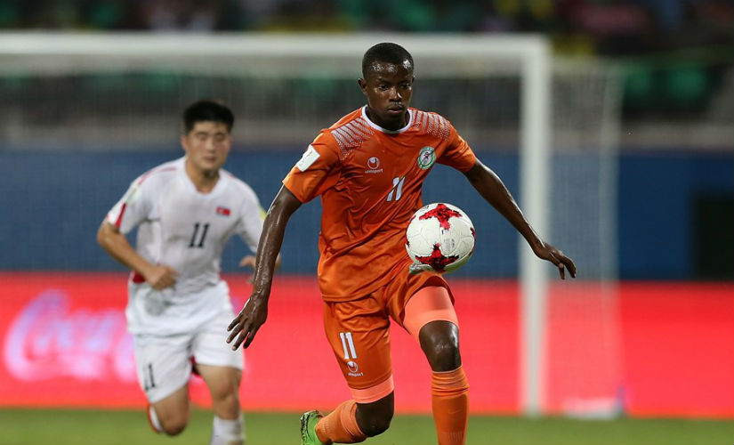 Karim Tinni of Niger controls the ball during the FIFA U-17 World Cup India 2017 group D match between Korea Republic and Niger at Jawaharlal Nehru International Stadium. Getty Images