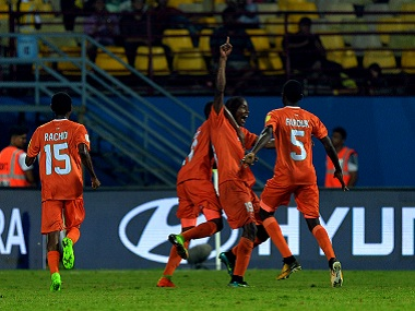 Salim Abdourrahmane of Niger celebrates after scoring a goal against North Korea. AFP
