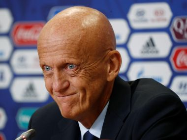 Soccer Football - FIFA Confederations Cup Russia 2017 – FIFA closing Press Conference - SaintPetersburgStadium, St.Petersburg, Russia – July 1, 2017. FIFA's Chairman of the Referees Committee, Pierluigi Collina during the press conference REUTERS/Maxim Shemetov - RC1C36CAD020