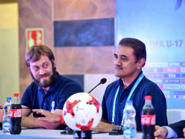 Tournament director Javier Ceppi and AIFF president Praful Patel at the press conference in Kolkata. Twitter: @prafulpate