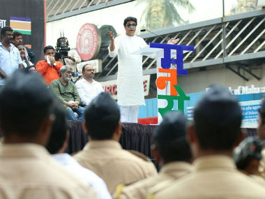 Raj Thackeray speaking at the protest march on 5 October 2017. Sachin Gokhale/Firstpost