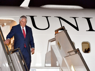 US secretary of state Rex Tillerson arrives in India. PTI