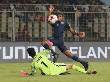 England's Rhian Brewster in action against USA. Image Courtesy: Twitter @FIFAcom